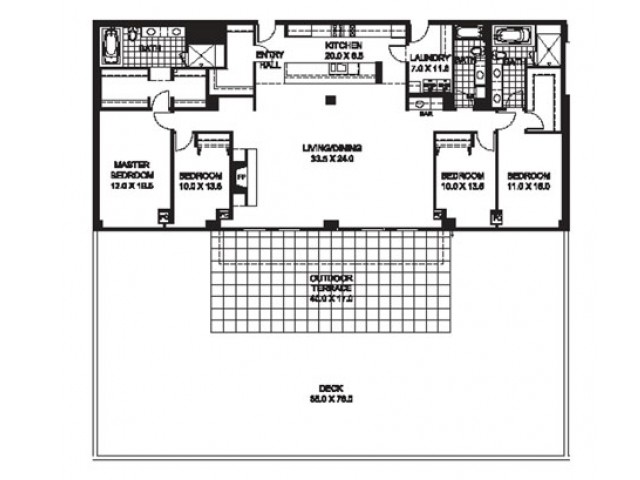 Four Bedroom Three Bathroom Floor Plan D10