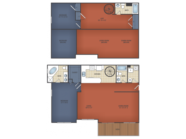 Two Bedroom Senior Loft A