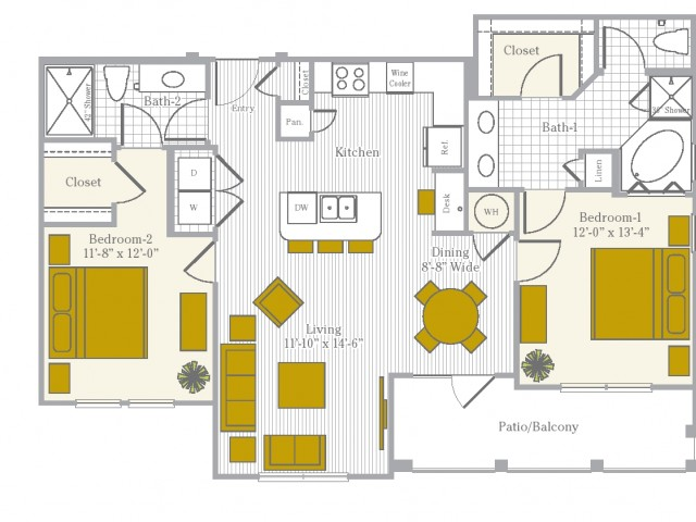 2 bedroom 2 bath apartment with kitchen island, dining area and private patio at 1175 square feet
