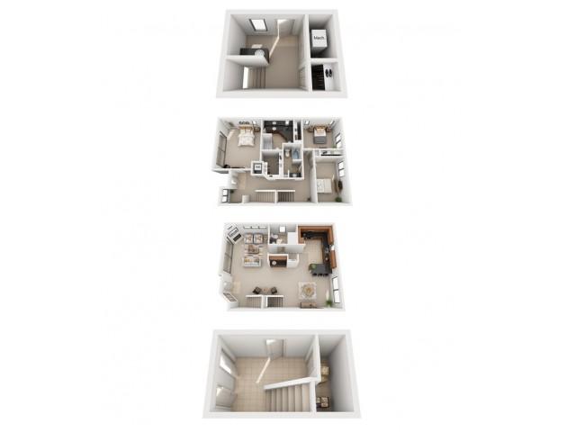 Three Bedroom Two Bathroom Floor Plan T1
