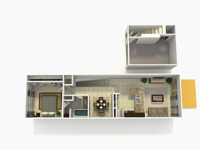 Sevilla Premium one bedroom one bathroom town home with single car garage 3D floor plan