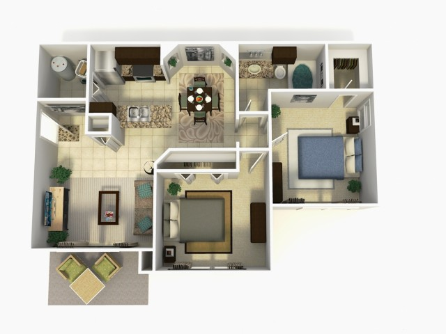 Doral Premium two bedroom one bathroom 3D floor plan