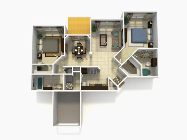 Tarragona Premium two bedroom two bathroom 3D floor plan