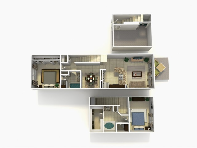 Lisbon Premium two bedroom two bathroom town home with single car garage 3D floor plan