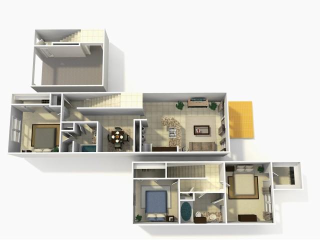 Coronado Premium three bedroom two bathroom town home with single car garage 3D floor plan