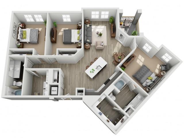 Three Bedroom Two Bathroom Apartment | Haven at Indigo Square