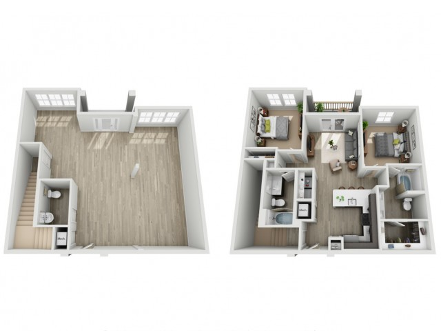 Two Bedroom Two Bathroom Loft Apartment | Haven at Indigo Square