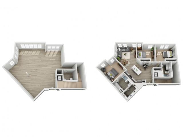 Three Bedroom Two Bath Loft Apartment | Haven at Indigo Square