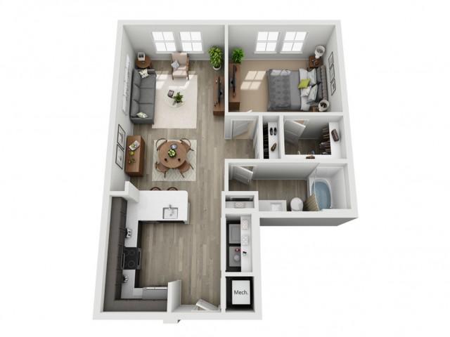 Studio One Bedroom One Bath Apartment
