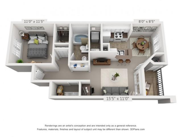 The Tipperary floorplan 1 bed 1 bath 700 sqft