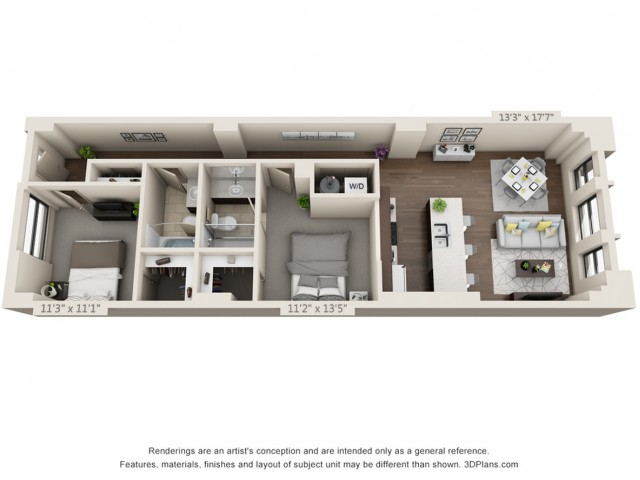 B03-TWO BEDROOMS/ TWO BATHROOMS- 1006 Sq. Ft.