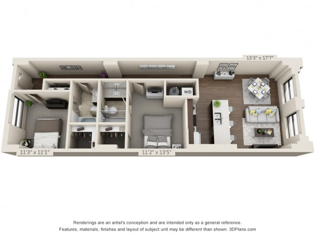B06-TWO BEDROOMS/ TWO BATHROOMS- 1006 Sq. Ft.
