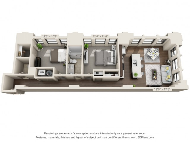 B07-TWO BEDROOMS/ ONE AND A HALF BATHROOMS- 1020 Sq. Ft.