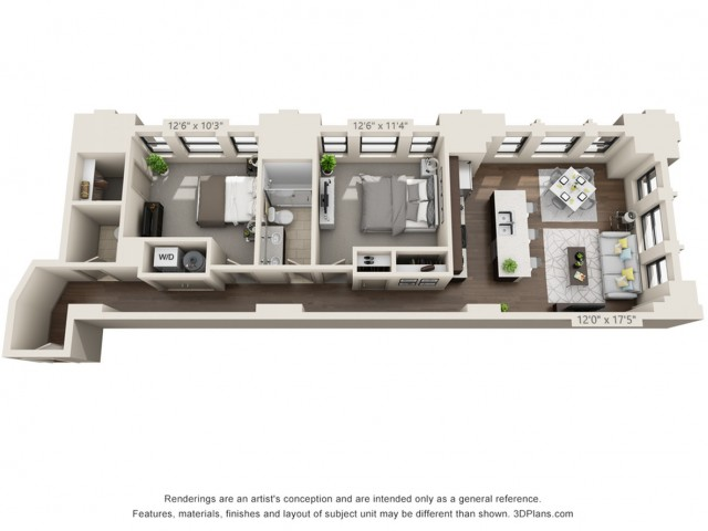 B08-TWO BEDROOMS/ ONE AND A HALF BATHROOMS- 1050 Sq. Ft.