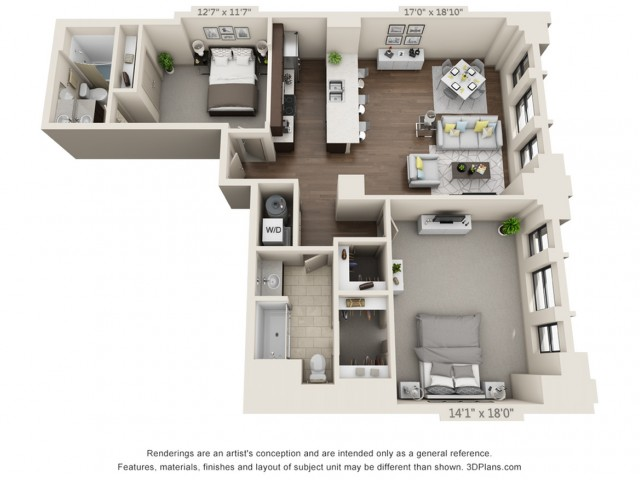B14-TWO BEDROOMS/ TWO BATHROOMS- 1261 Sq. Ft.