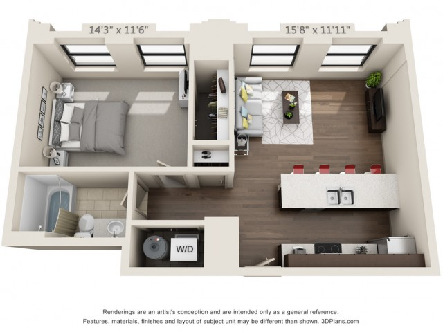 A03-ONE BEDROOM/ ONE BATH-648 Sq. Ft.