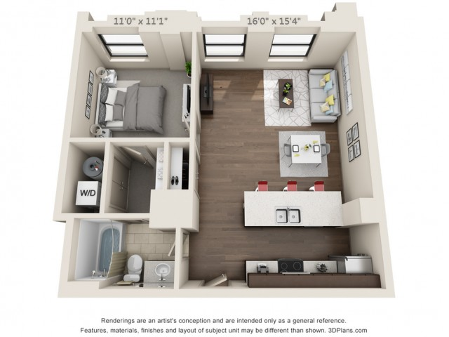 A05-ONE BEDROOM/ ONE BATHROOM- 704 Sq. Ft.