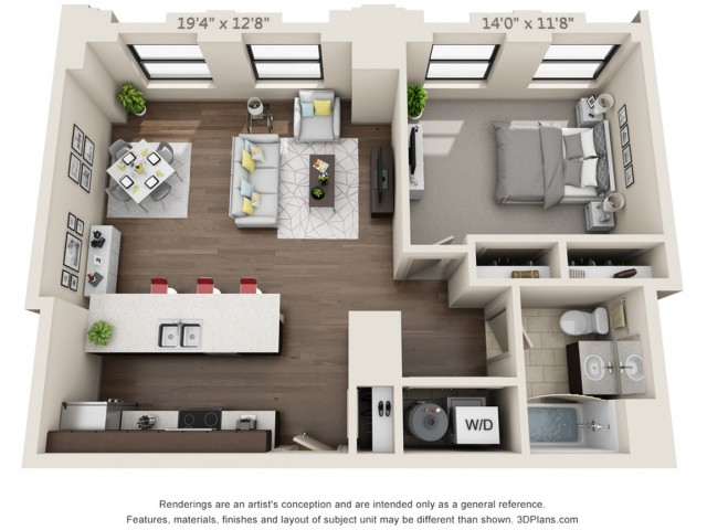 A09-ONE BEDROOM/ ONE BATHROOM- 808 Sq. Ft.
