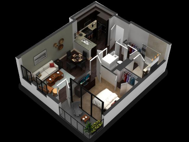 1 Bedroom Floor Plan B2