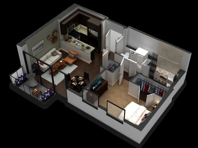 1 Bedroom Floor Plan B7b