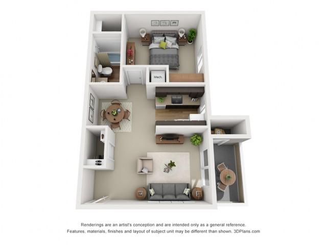 Aspen floorplan 1 bed 1 bath 720 sqft