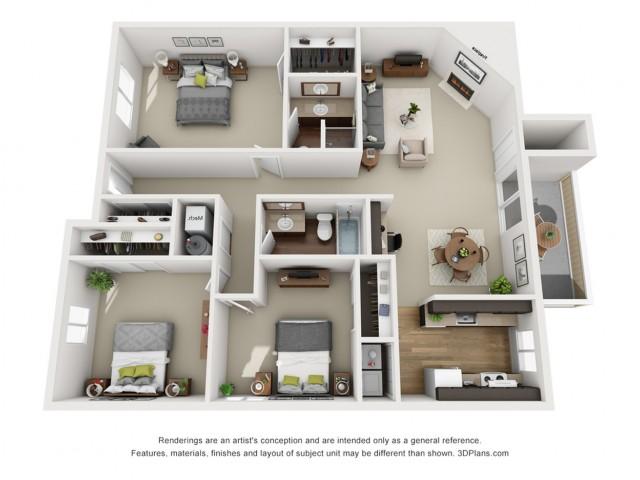 Elm floorplan 3 bed 2 bath 1501 sqft