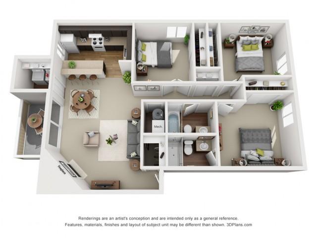 Douglas Floorplan 3 bed 2 bath 1235 sqft