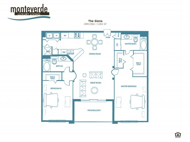 The Siena two bedroom two bathroom floor plan, 1,289 sq. ft.