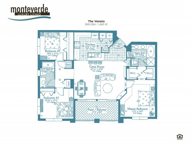 The Veneto three bedroom two bathroom floor plan, 1,488 sq.ft.