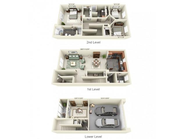 Three Bedroom Two Bathroom floor plan