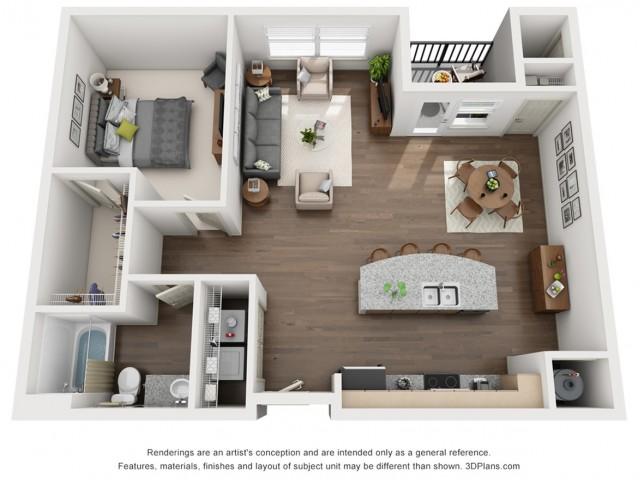 Stella 899 Square Feet One Bedroom | One Bathroom