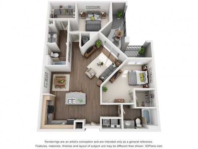 Yves 1175 Square Feet Two Bedroom | Two Bathroom