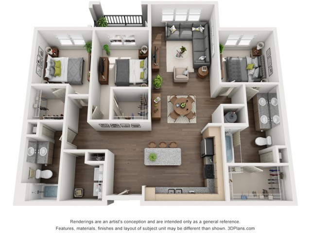 Roberto 1350 Square Feet Three Bedroom | Two Bathroom.  Available with single balcony, double balcony or without. Select homes have variations in the master bedroom closet.  Square footage varies based on selected home. Please see an agent