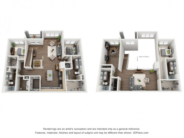Louis Loft 2214 Square Feet Three Bedroom with Loft | Four Bathroom