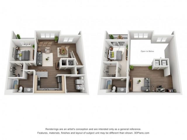 Cole Loft 1482 Square Feet Two Bedroom | Two Bathroom