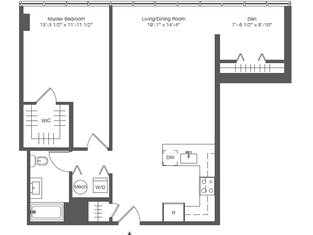 1A2 ONE BEDROOM WITH DEN ONE BATH