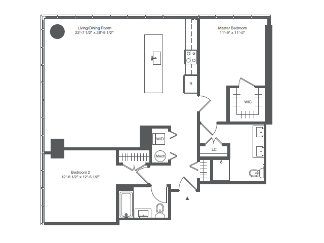 1B1 - TWO BEDROOM TWO BATHS