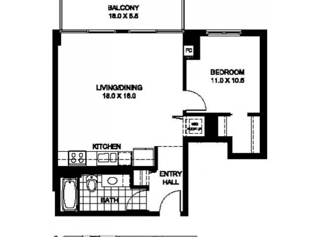 One Bedroom One Bathroom Floor Plan Penthouse 4