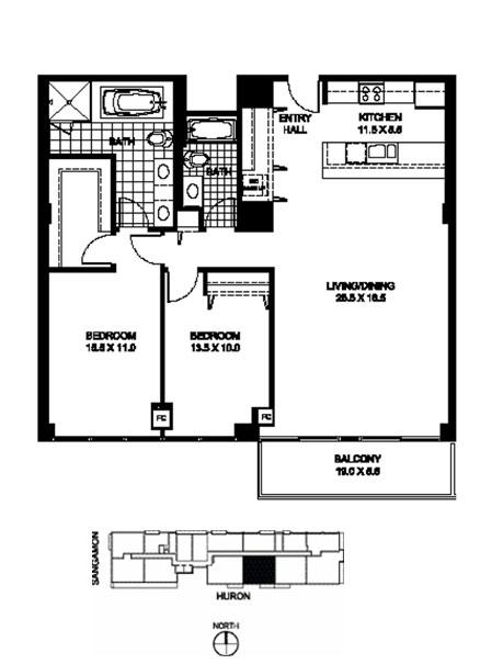 Two Bedroom Two Bathroom Floor Plan B10