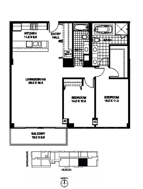 Two Bedroom Two Bathroom Floor Plan B12