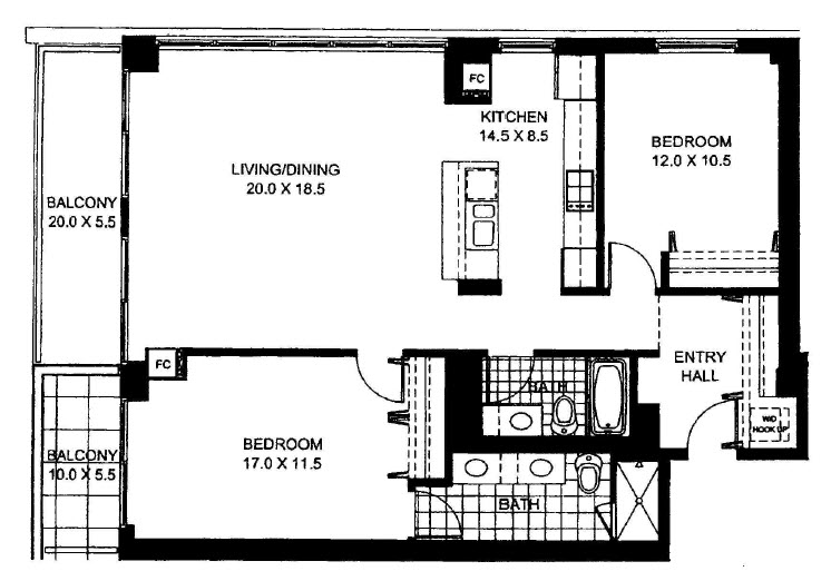 Two Bedroom Two Bathroom Floor Plan Penthouse 2