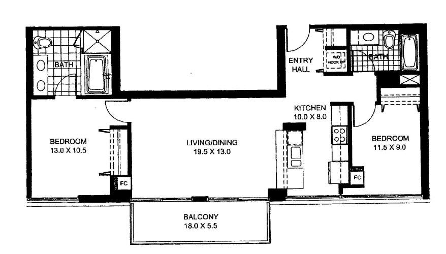 Two Bedroom Two Bathroom Floor Plan Penthouse 6