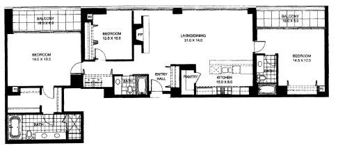 Three Bedroom Two Bathroom Floor Plan Penthouse 8 (1408)