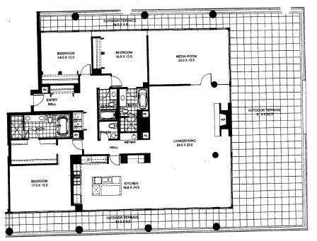 Three Bedroom Two Bathroom Floor Plan Penthouse 9 (1409)