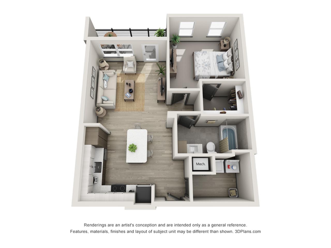Lido A1 One Bedroom Floor Plan