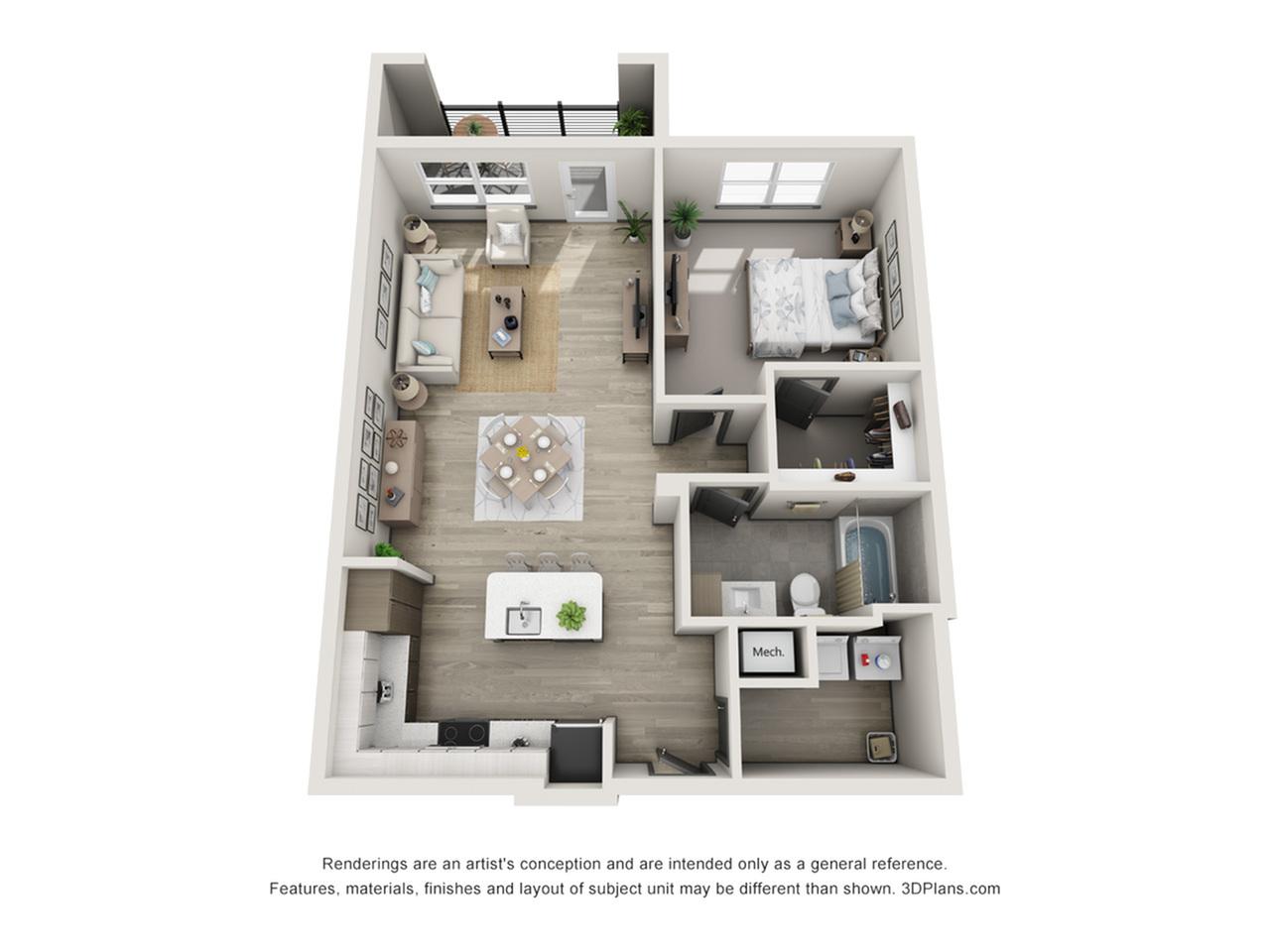 Madeira A2 One Bedroom Floor Plan