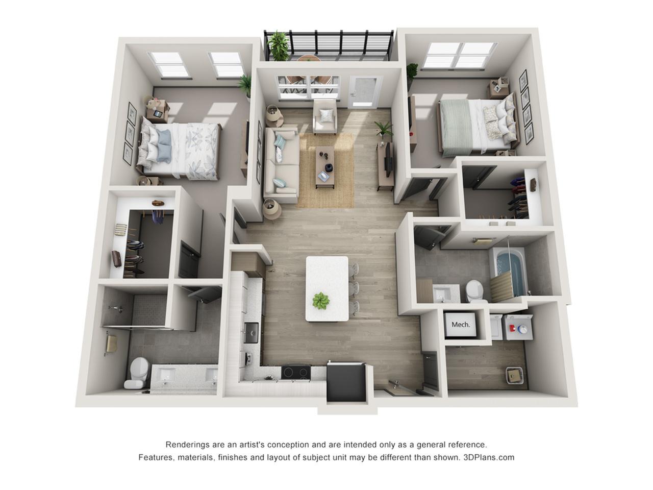 Redington B1 Two Bedroom Floor Plan