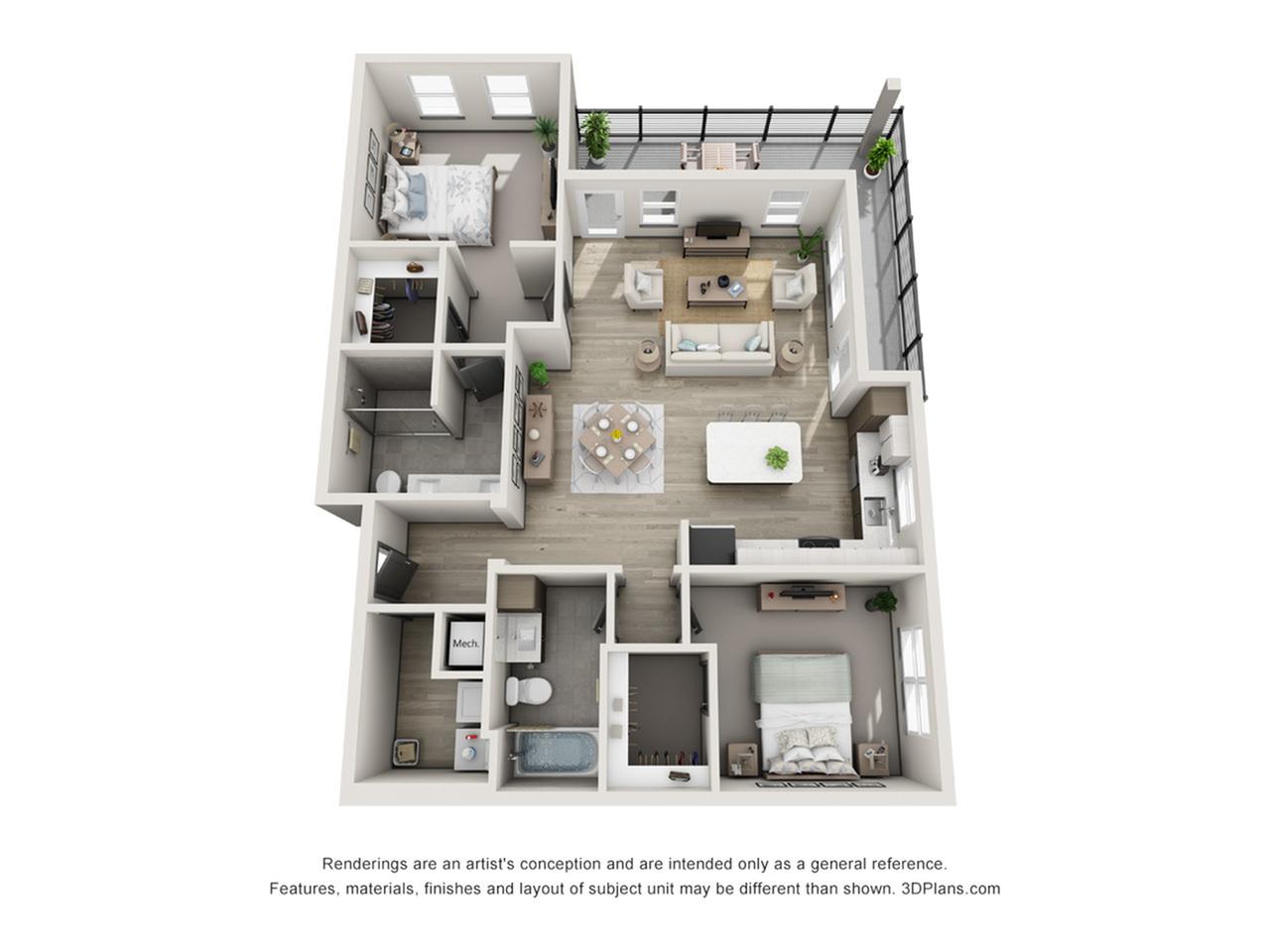 Sand Key B2 Two Bedroom Floor Plan