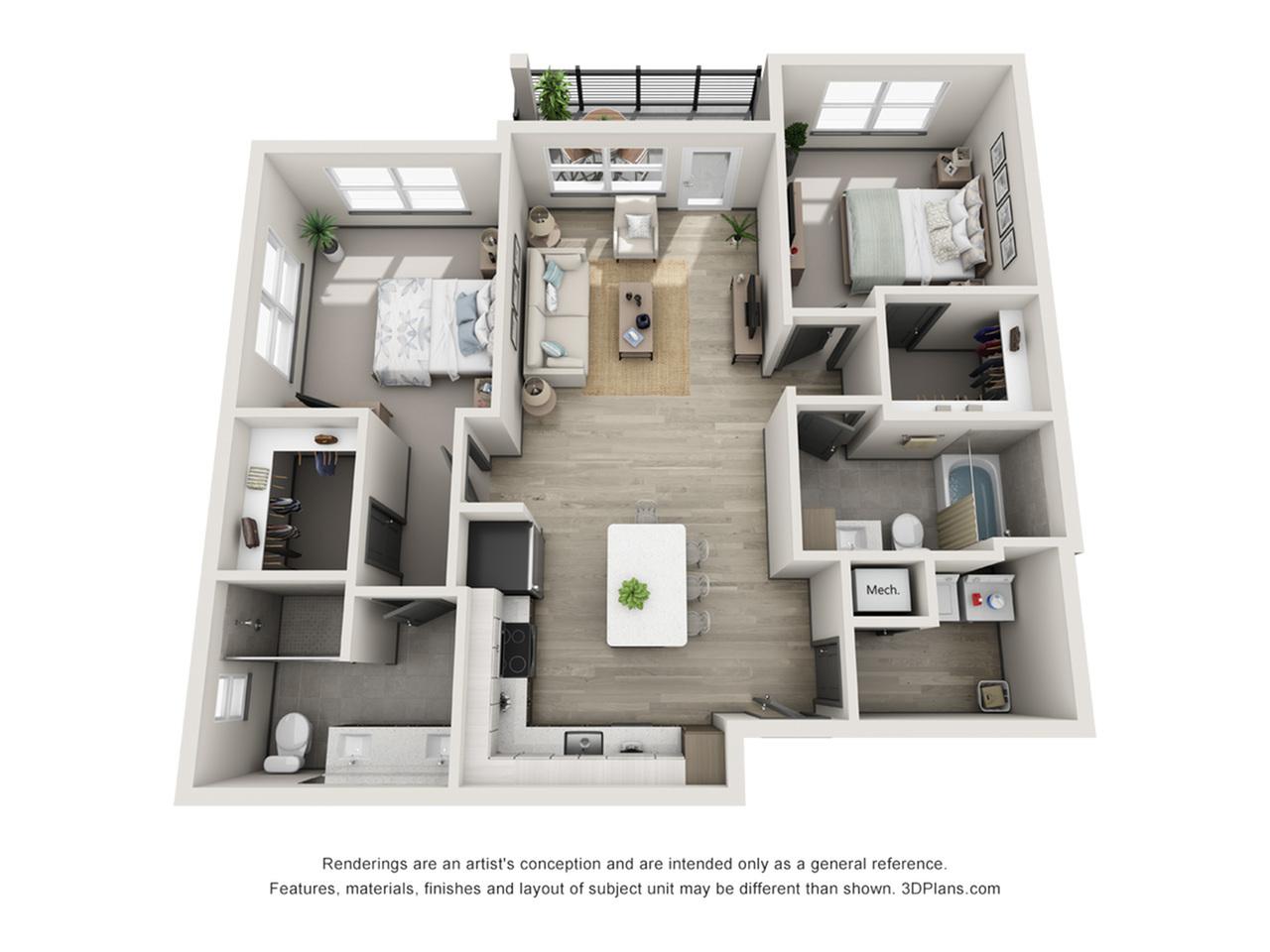 Siesta Key B3 Two Bedroom Floor Plan