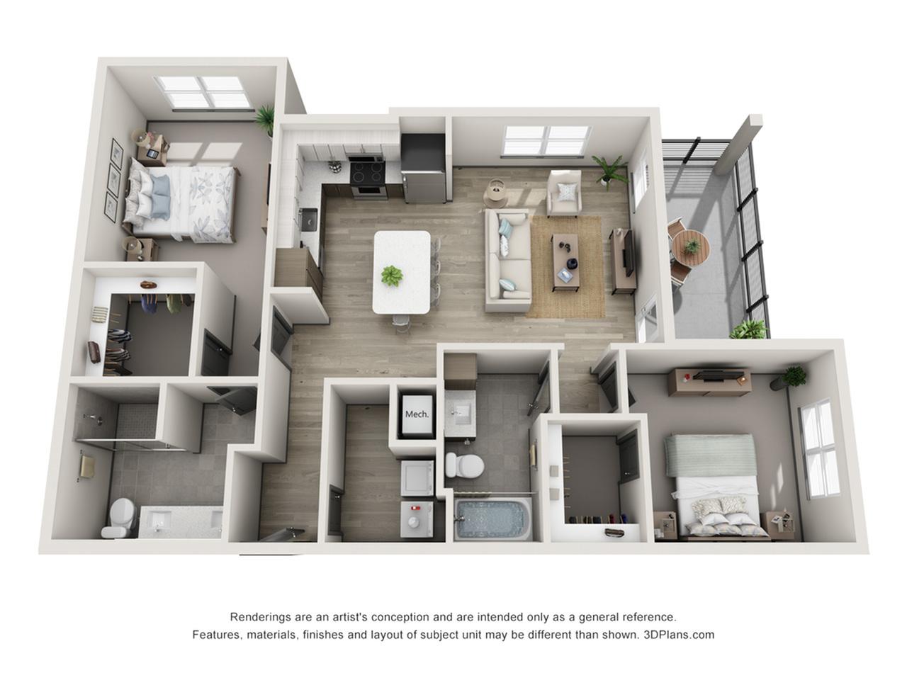 St. Pete B4 Two Bedroom Floor Plan